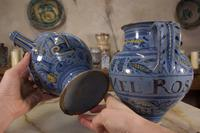 Pair of Mid 17th Century Italian Majolica Berettino Wet Drug Jars (7 of 11)
