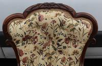 1859 Quality Beautiful Rosewood Mummy and Daddy Chair in Floral Upholstery (5 of 5)
