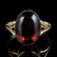 Antique Victorian 6ct Cabochon Garnet Ring 9ct Gold Circa 1900 (6 of 7)