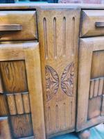 Art Deco Oak Wood Sideboard with Ball Feet (6 of 9)
