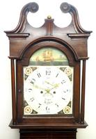19thc English 8 Day Longcase Clock Mahogany Case Galleon Painted Dial Grandfather Clock (2 of 19)