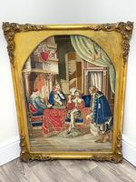 """Large Artwork Gilt Gesso Framed 19th Century Tapestry French Royal Court """"Playing Chess"""" (40 of 44)"""