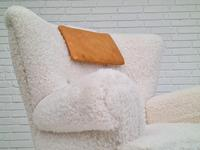 1950s Danish Design, Reupholstered Relax Armchair, Imitation Lambskin (4 of 16)
