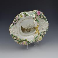 Fine Large Rockingham Porcelain Basket View The Needles, Isle Of Wight c.1830-1842