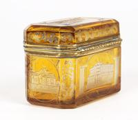 Bohemian Antique Engraved Metal Mounted Overlay Yellow Glass Sugar Casket 19th Century (3 of 19)