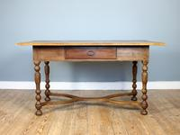 19th Century Single-Drawer Serpentine Stretcher Dining Table (6 of 8)