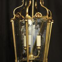 French Gilded Bronze Triple Light Antique Hall Lantern (3 of 10)