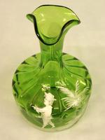 Antique Mary Gregory Green Glass Decanter (5 of 6)