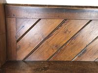 Antique Pitch Pine Church Pew with Enamel Number 27 (10 of 13)