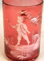 Antique Mary Gregory Cranberry Glass Mug (2 of 4)