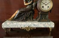 Beautiful 19thc French 3-piece 8-day Gilt-bronzed Spelter Garniture Mantle Clock (9 of 16)