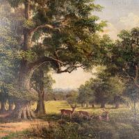 Antique Landscape Oil Painting of Deer in Richmond Park Signed JI Lewis (10 of 10)