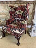 Kilim Covered Wingback Armchair on Ball & Claw Feet (4 of 9)