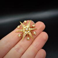 Antique Victorian Pearl 12 Point Star 15ct 15K Yellow Gold Pendant (6 of 6)