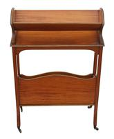 Victorian 19th Century Satin Walnut Bookcase / Book Trough (5 of 6)