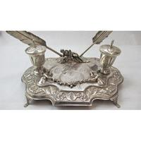 Impressive Sterling Silver Inkwell, approximately 42 x 21cm. (4 of 7)
