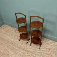 Unusual Pair of Antique Mahogany Folding Cake Stands (2 of 5)