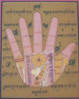 Rare Set of 4 Antique Indian Paintings Palmistry & Solestry (3 of 8)