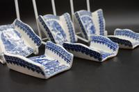 Rare Set of 6 Late 18th Century Blue & White Asparagus Rests (3 of 5)