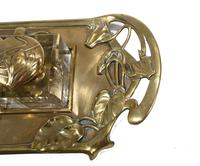 Vintage Art Nouveau Style Inkwell Brass 1930s (4 of 10)