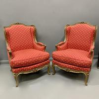 Pair of French Painted Wing Armchairs (3 of 8)