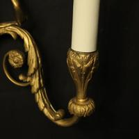 French Pair of Gilded Bronze Twin Arm Antique Wall Sconces (8 of 10)