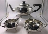 Solid Silver tea set service planished design art nouveau Charles Edwards 1919 (4 of 9)