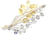 0.22ct Sapphire & 1.82ct Diamond, 18ct Yellow & White Gold Spray Brooch c.1930 (5 of 9)