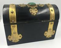 Charles Asprey Gothic Revival Ebonised Box Cask Malachite Mounts c.1865 (3 of 7)
