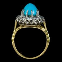 Antique Edwardian Turquoise Diamond Cluster Ring Platinum 18ct Gold 2ct of Diamond c.1905 (5 of 8)
