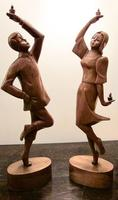 Pair of Large Hand Carved 1950's Asian Dancing Figures