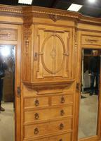 1900's Large Quality Oak Mirrored Compactum Wardrobe (4 of 6)