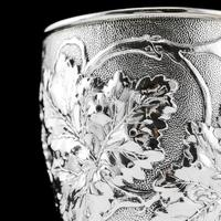 Antique Victorian Solid Silver Beaker / Cup with Superb Naturalistic Grapevine Design - Barnard 1871 (6 of 16)