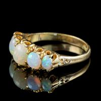 Antique Victorian Opal Five Stone Ring 18ct Gold 2.20ct Of Opal c.1900 (2 of 6)