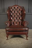 Pair of Queen Anne Style Buttoned Leather Wing Chairs (6 of 11)
