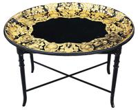 Victorian Decorated Black Lacquer Tray on Stand Coffee Table