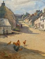 Large Original Edwardian Antique Yorkshire Hamlet Landscape Watercolour Painting (3 of 13)