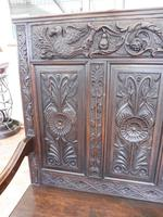 Country Oak Carved Settle Depicting Phoenix 1750 (4 of 13)