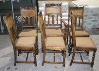 1920s Set 6 Oak Barley Twist Dining Chairs with Cane Backs (3 of 3)