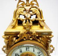 Superb Antique French Ormolu Mantel Candelabra Clock Set Embossed Decoration Finial 8 Day Striking (15 of 15)