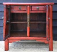 Excellent Pair of Chinese Red Lacquered Cabinets / Cupboards c.1900 (4 of 14)