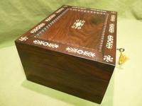 Inlaid Rosewood Table Box / Jewellery Box c.1840 (4 of 12)