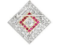3.48ct Diamond & 0.53ct Ruby, Platinum Pendant / Brooch - Antique c.1900 (8 of 15)