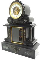 Fine Antique French Slate & Marble Regulator Mantel Clock 8 Day Striking Mantle Clock with Visible Jewelled Escapement (8 of 12)