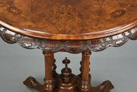 Victorian Burr Walnut Demi Lune Card Table (4 of 6)