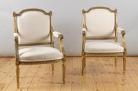 Pair of Large 19th Century Louis XV1 Style French Gilt Armchairs (2 of 10)