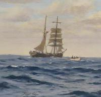 20th Century Oil on Board Mary Celeste Intercepted by the Dei Gratia by Roger Fisher (4 of 5)