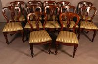 Set of 12 Victorian Spear Point Balloon Back Dining Chairs (2 of 11)