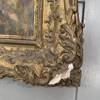 Antique oil painting portrait of young girl in ornate gesso frame signed William Patrick (4 of 8)