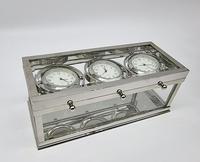 Decorative Desk or Wall Clock with Three Multi - Directional Giroscopic Clocks